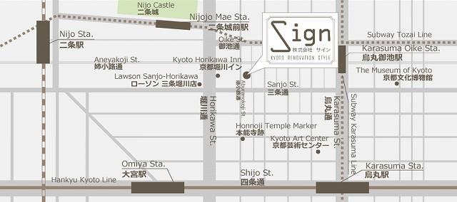 リノベーション京都のサインの地図,リノベサイン,リノベ京都,京都マンションリノベ
