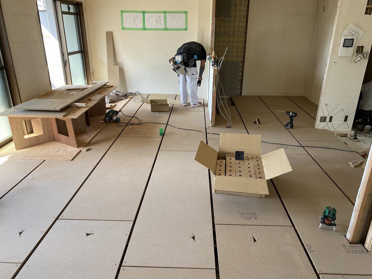 京都マンションリノベDIY,防音床4